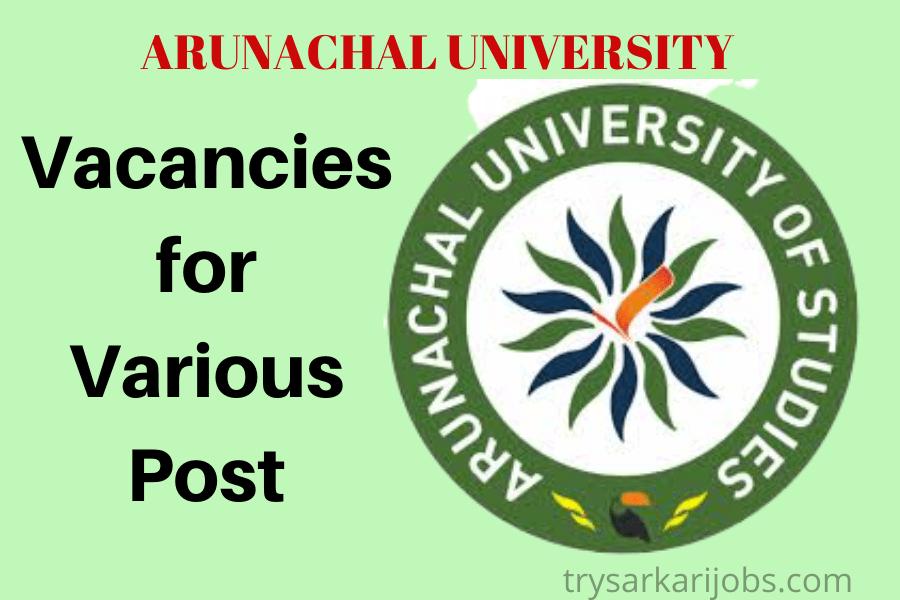Arunachal University Recruitment 2020