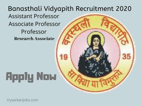 Banasthali Vidyapith Recruitment 2020