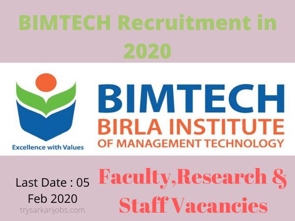 BIMTECH Recruitment in 2020
