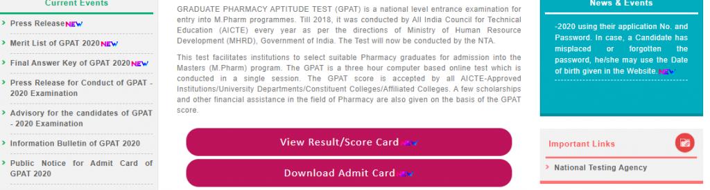 GPAT Results NTA 2020