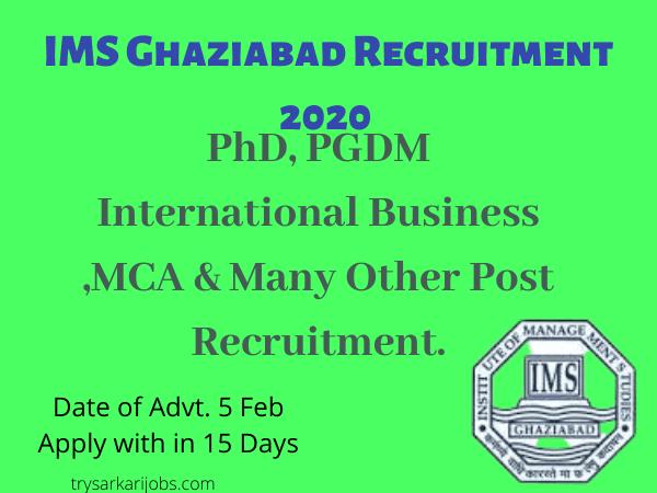 IMS Ghaziabad Recruitment 2020