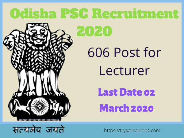 Odisha PSC Recruitment 2020
