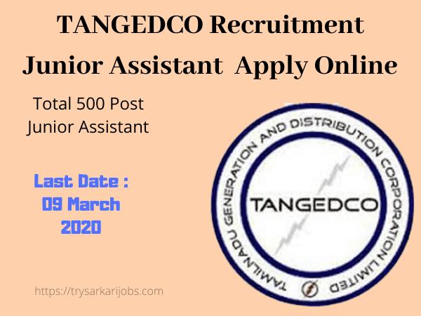 TANGEDCO Recruitment Junior Assistant