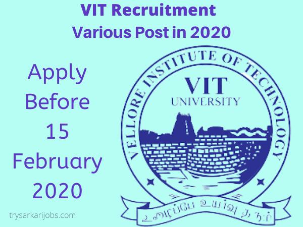 VIT Recruitment Various Post