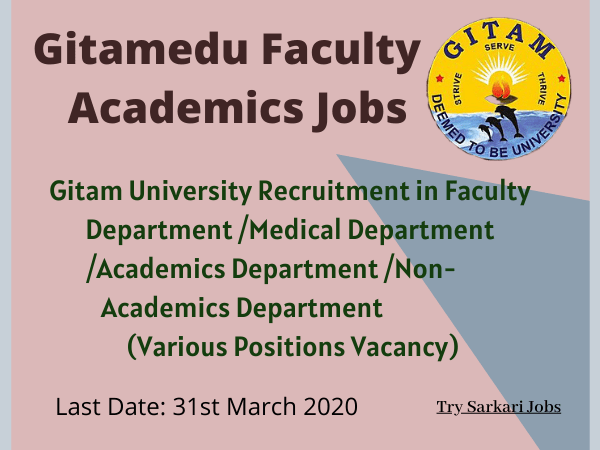 Gitamedu Faculty Academics Jobs