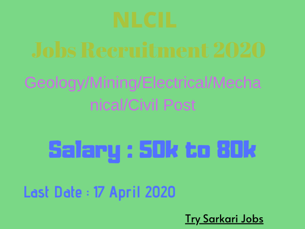 NLCIL Jobs Recruitment 2020