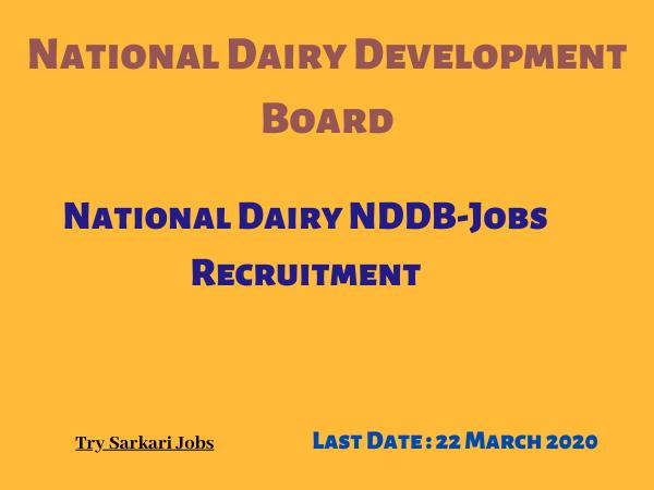 National Dairy NDDB-Jobs Recruitment