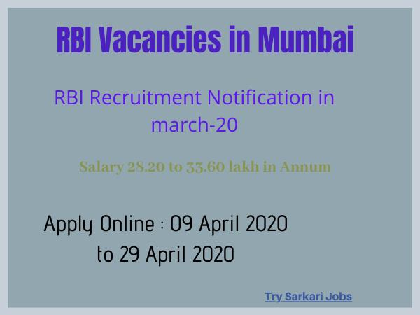 RBI Vacancies in Mumbai