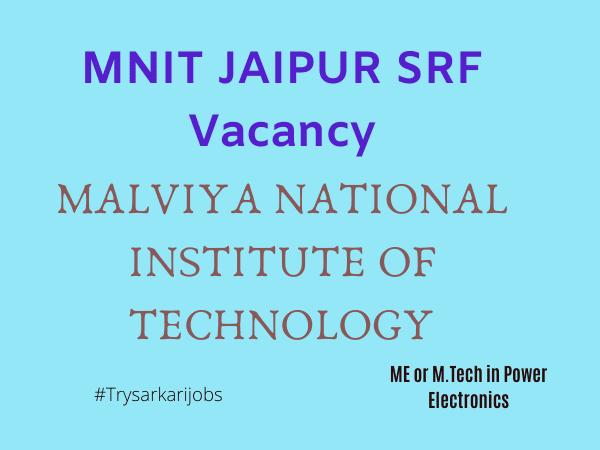 MNIT JAIPUR SRF Vacancy