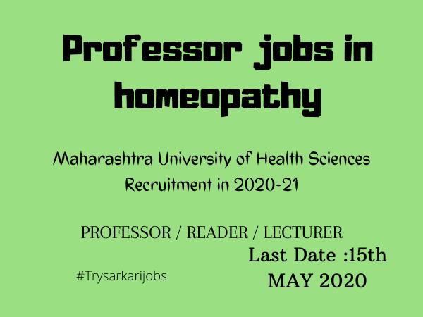 Professor jobs in homeopathy