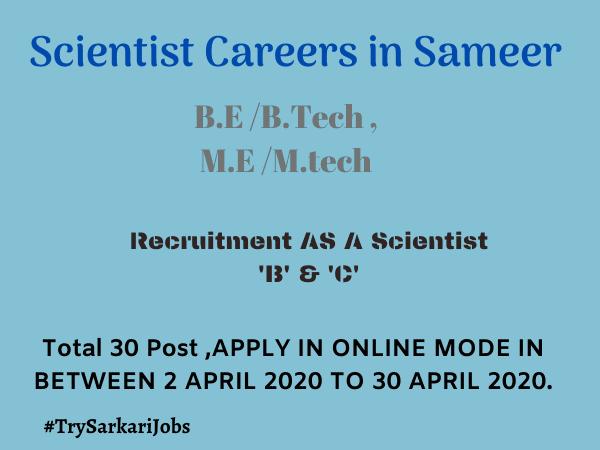 Scientist Careers in Sameer