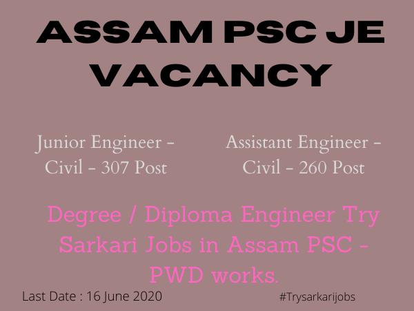Assam Psc JE Vacancy