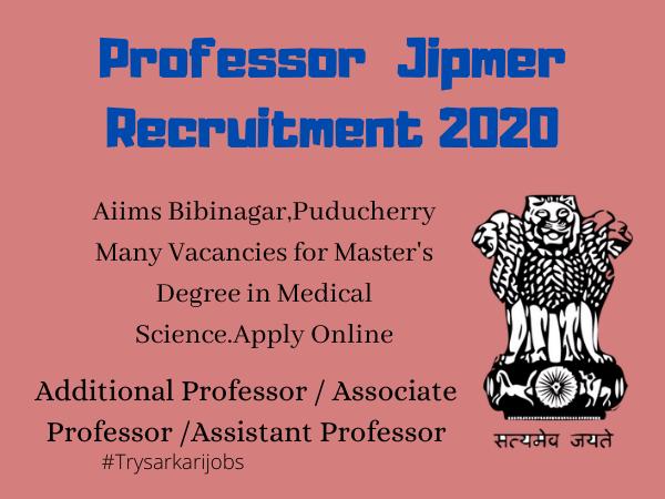 Assistant Professor Vacancy Jipmer