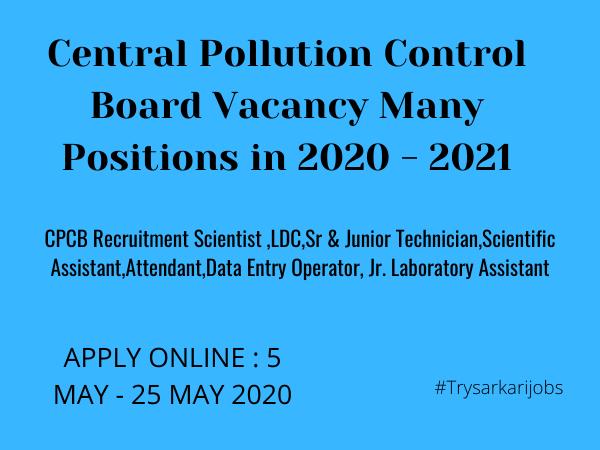 CPCB Recruitment Scientist 2020