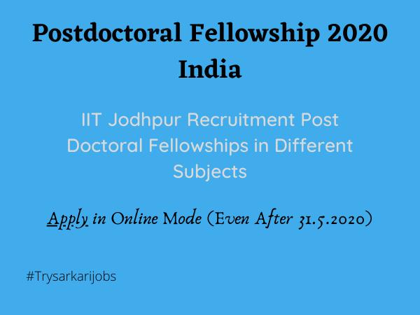 Postdoctoral Fellowship 2020 India