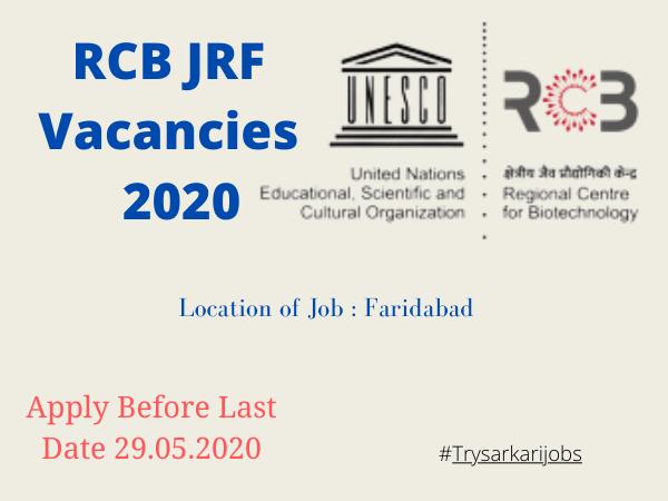 RCB JRF Vacancies 2020