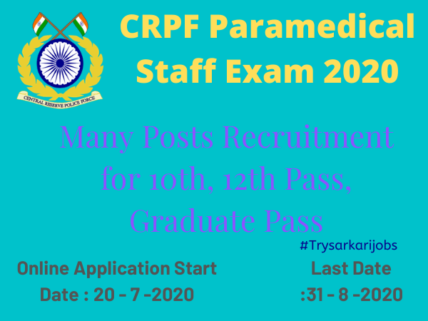 CRPF Paramedical Staff Exam 2020