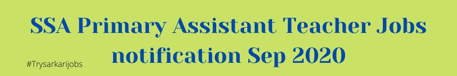 SSA Primary Assistant Teacher Jobs