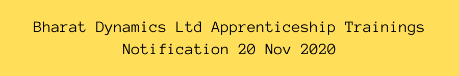 Bharat Dynamics Ltd Apprenticeship