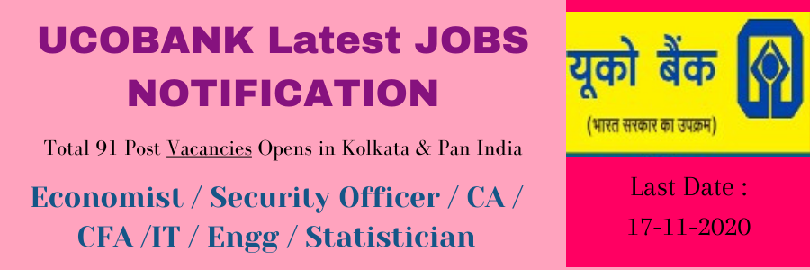 UCOBANK Latest JOBS NOTIFICATION