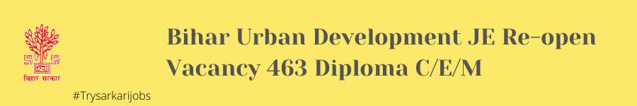 Bihar Urban Development JE