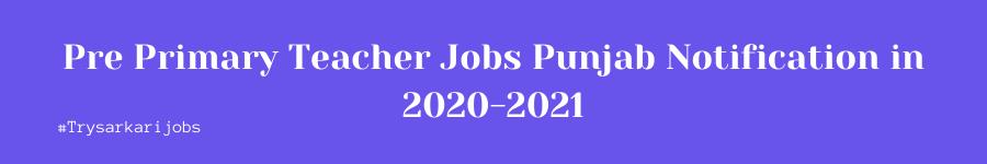Pre Primary Teacher Jobs Punjab