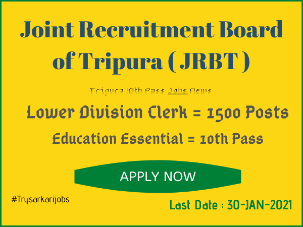 Tripura 10th Pass Jobs News
