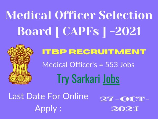 ITBP MOSB Medical Jobs 2021